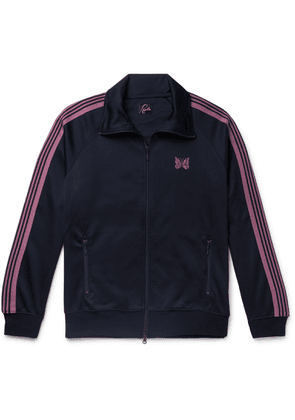 Needles - Striped Grosgrain-trimmed Tech-jersey Zip-up Track Jacket - Blue