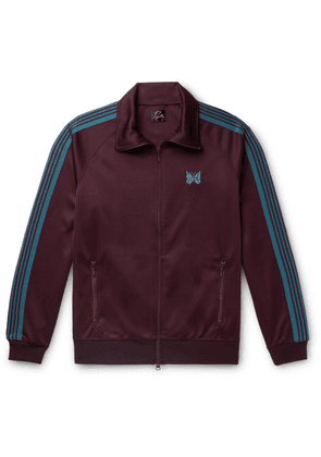 Needles - Striped Grosgrain-trimmed Tech-jersey Zip-up Track Jacket - Burgundy