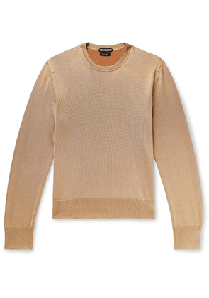 TOM FORD - Slim-fit Silk And Merino Wool-blend Sweater - Neutrals