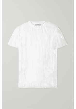Prada - Lace-trimmed Hammered-charmeuse Top - White