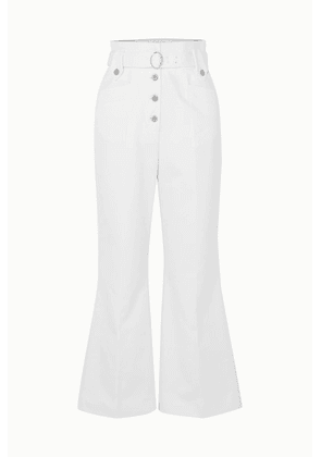Miu Miu - Belted Cotton-twill Flared Pants - White