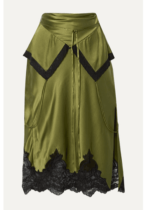 Alexander Wang - Layered Lace-trimmed Silk-charmeuse Skirt - Army green