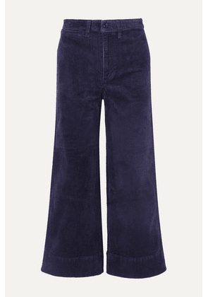 Madewell - Emmett Cropped Stretch-cotton Corduroy Wide-leg Pants - Navy