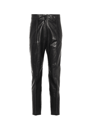 High-rise slim leather pants