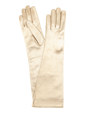 Long Metallic Leather Gloves