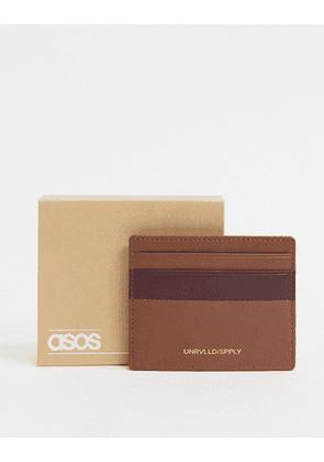 ASOS DESIGN leather cardholder in tan with burgundy contrast detail