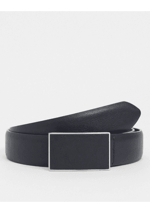 ASOS DESIGN slim belt in matte black faux leather with plate buckle