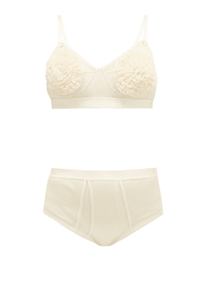 Gucci - Tulle And Cotton Bra And High-rise Briefs Set - Womens - Cream