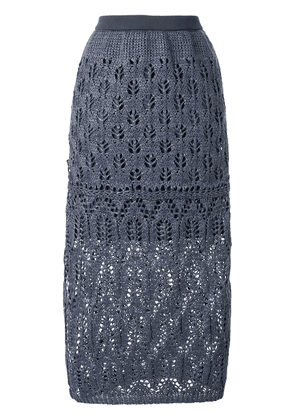 Coohem straight lacy knit skirt - Blue