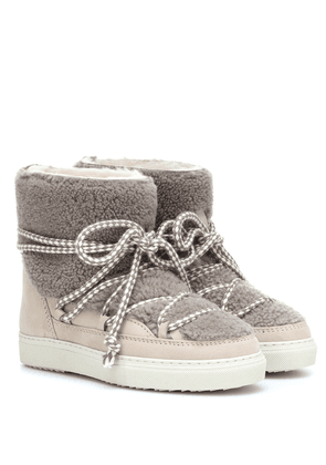 Shearling-trimmed ankle boots