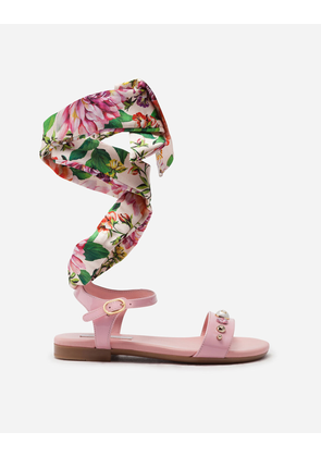Dolce & Gabbana Shoes (24-38) - ANKLE STRAP SANDALS IN PATENT LEATHER WITH SATIN RIBBON PINK