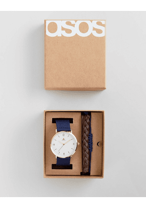ASOS Gift Set With Watch And Bracelets In Brown And Navy
