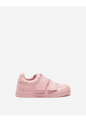 Dolce & Gabbana Shoes - PORTOFINO LIGHT SNEAKERS IN BRANDED NAPPA LEATHER PINK