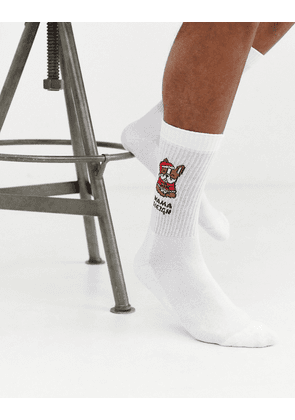 ASOS DESIGN sport sock with christmas bulldog print-White