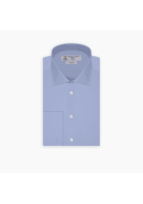 Slim Fit Mid Blue Cotton Shirt with Regent Collar and Double Cuffs
