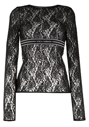 Dolce & Gabbana long-sleeved lace top - Black