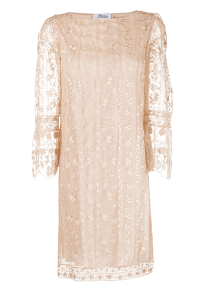 Blumarine floral embroidered mini dress - NEUTRALS