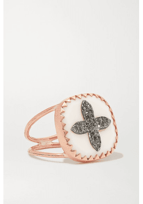 Pascale Monvoisin - Bowie N°2 9-karat Rose Gold, Sterling Silver, Resin And Diamond Ring - 7