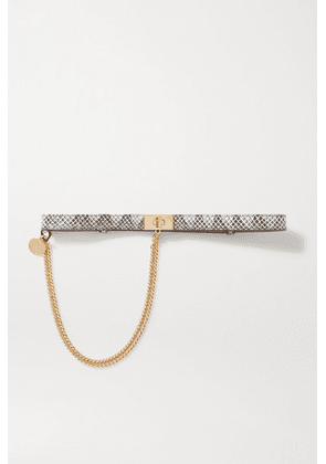 Givenchy - Chain-embellished Watersnake Leather Belt - Gray