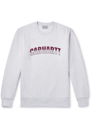 Carhartt WIP - District Logo-print Mélange Fleece-back Cotton-blend Jersey Sweatshirt - Gray