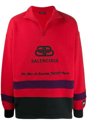 Balenciaga logo-printed ski jumper - Red