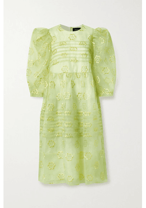 Simone Rocha - Pintucked Floral-embroidered Organza Midi Dress - Chartreuse