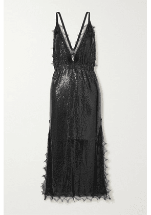 Christopher Kane - Lace-trimmed Chainmail Midi Dress - Black