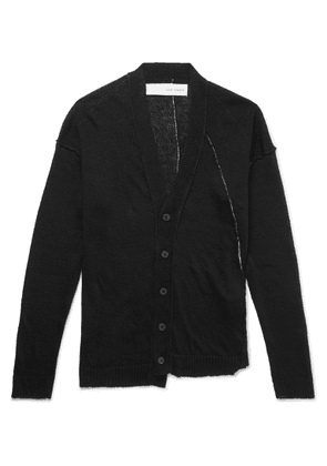 Isabel Benenato - Distressed Linen Cardigan - Black