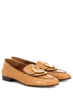 Chloé C croc-effect leather loafers