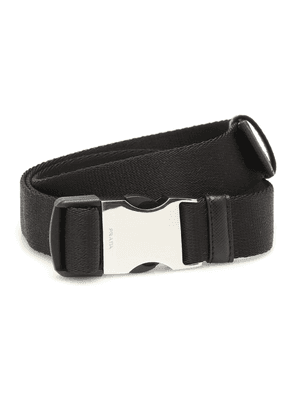 Leather-trimmed canvas belt