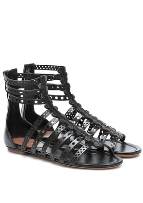 Laser-cut leather sandals