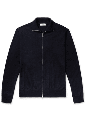 Mr P. - Merino Wool Zip-up Cardigan - Blue