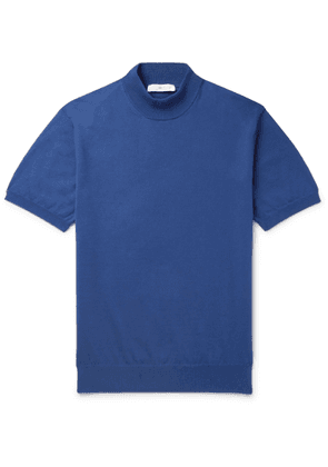 Mr P. - Cotton Mock-neck Sweater - Blue