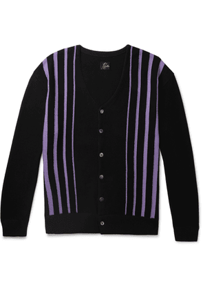 Needles - Striped Cotton-blend Cardigan - Black