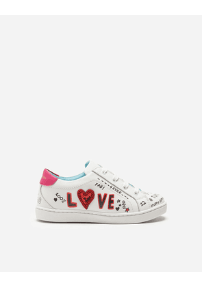 Dolce & Gabbana Shoes (24-38) - LEATHER SNEAKERS WITH PATCH WHITE