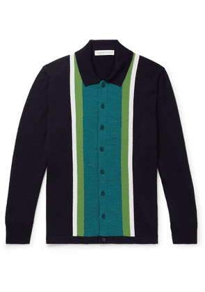 Orlebar Brown - Sinclair Slim-fit Striped Merino Wool Cardigan - Blue