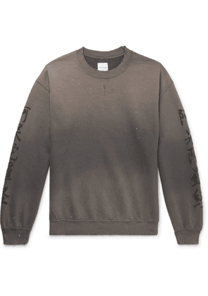 Sasquatchfabrix. - Distressed Printed Fleece-back Cotton-blend Jersey Sweatshirt - Gray