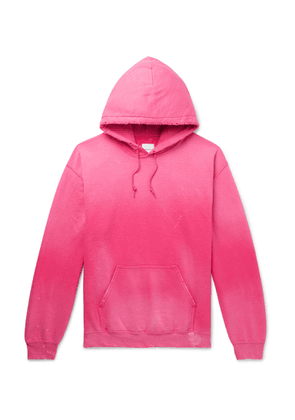 Sasquatchfabrix. - Distressed Logo-print Fleece-back Cotton-blend Jersey Hoodie - Pink