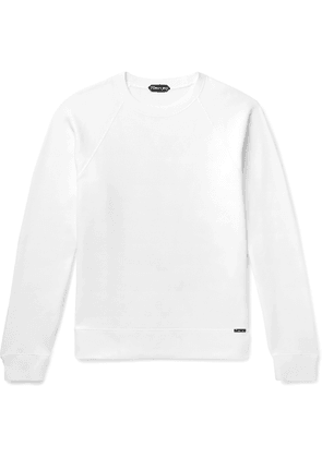 TOM FORD - Slim-fit Garment-dyed Fleece-back Cotton-jersey Sweatshirt - White
