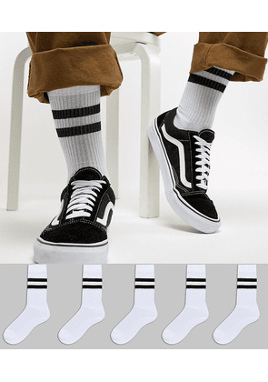 ASOS DESIGN 5 pack sports style socks in white with stripe save
