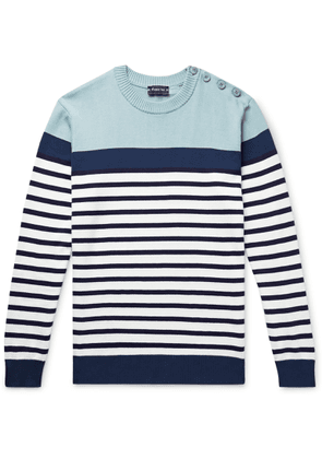 Armor Lux - Button-embellished Striped Cotton Sweater - Blue