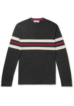 Brunello Cucinelli - Striped Cashmere And Silk-blend Sweater - Gray