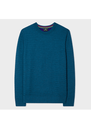 Men's Teal Merino Wool Sweater With Contrast Back