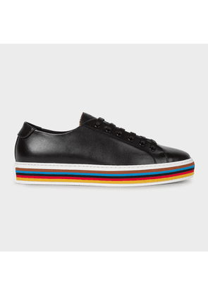 Men's Black Leather 'Sotto' Trainers with Striped Soles
