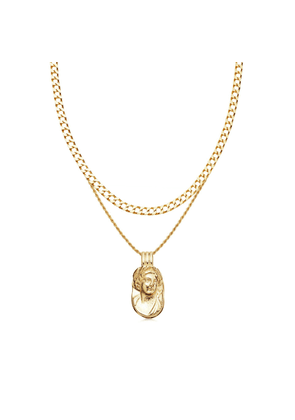 Gold Large Cameo Necklace Set