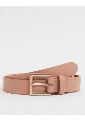 ASOS DESIGN Wedding slim belt in light pink faux leather
