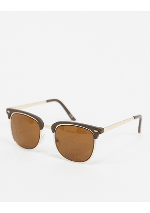 ASOS DESIGN 70s retro sunglasses in brown and gold with brown lens-Black