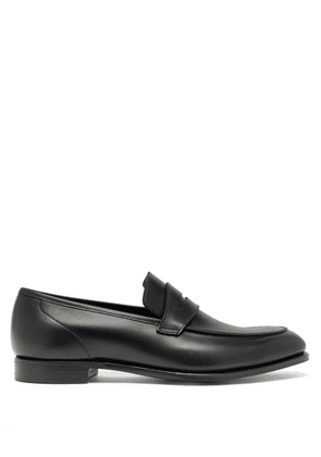 Crockett & Jones - Lucy Patinated-leather Penny Loafers - Womens - Black