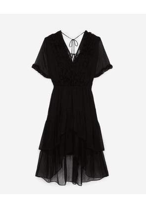 The Kooples - Frilly long black dress with plunging V-neck - WOMEN
