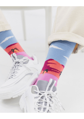 ASOS DESIGN ankle socks with surfer beach landscape-Multi